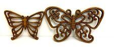 Set of 2  Vintage Homco Home Interior Wall Hanger Plastic Butterflies