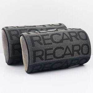 2pcs Recaro GrayFabric Headrest Pillow Supports Racing Neck Rest Seat Material
