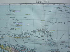 1919 LARGE MAP ~ OCEANIA ~ NEW GUINEA PAPUA POLYNESIA NEW ZEALAND HAWAII