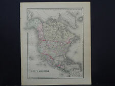 North America Antique Map 1886 O.W. Gray R9#27
