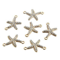 10pc Gold Crystal Starfish Connector Beads Charm Pendant  DIY Necklace/Bracelet