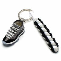 3D Mini Sneaker Shoes Keychain Retro Cool Gray With Strings for Air Jordan 11
