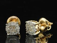 Donna 14K Oro Giallo Taglio Princess Halo Set Diamante Orecchini 0.25 KT