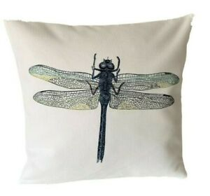 *SALE* Dragonfly - 40cm Ivory cushion cover botanical/French country