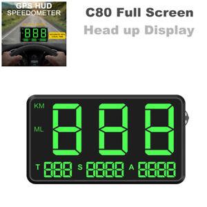 C80 Full Screen Driving Speed Digital GPS Speedometer Alarm Hud Head up Display