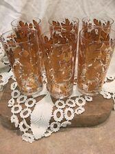 "Vintage Culver Gold Leaves Acorns Tumblers Glasses (6) Beautiful 5-1/2"""