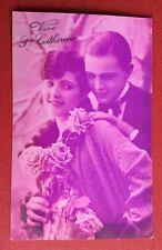 CPSM. Vive Ste CATHERINE. Jeune Homme. Jeune Fille. Amour. Tons Violet Rose.