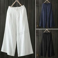 UK Women Elastic Waist Casual Solid Wide Leg Trousers Cotton Loose Pants Plus