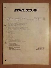Ersatzteilliste STIHL Motorsägen 010AV Ausg 12/1978 Ersatzteilkatalog Parts List
