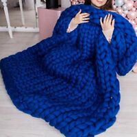Large Soft Chunky Knitted Thick Blanket Hand Yarn Wool Throw Sofa Blanket Winter