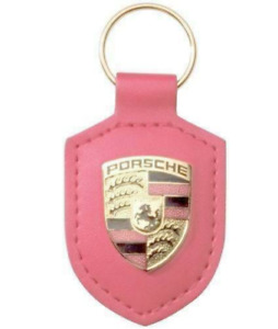 PORSCHE LEATHER METAL CREST KEY RING FOB CHAIN PINK
