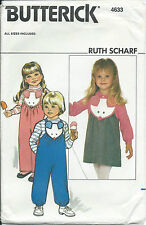 B 4633 sewing pattern OVERALLS JUMPER Mouse Face Bib BLOUSE sew sizes 3,4,5,6,6x