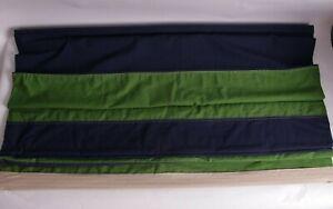 Pottery Barn Kids Rugby Stripe cordless roman shade 44x64 blackout navy green