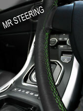 FOR AUSTIN MORRIS MINI BLACK LEATHER STEERING WHEEL COVER GREEN DOUBLE STITCHING