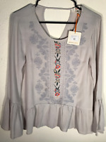 Orange Creek New Embroidered Floral Front Boho Peasant Bell Sleeve Top S