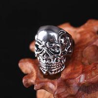 Men's Stainless Steel Cool Carved Skull Punk Biker Gothic Finger Rings US 10/11