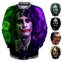 Men Women Coat Movie JOKER 3D Print Baseball Uniform Shirt Jacket Pullover Tops
