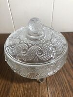 Vintage AVON Diamond/Swirl Pattern Footed Lidded Candy Dish/Vanity Powder Box