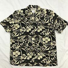 Donnkenny Button Front Blouse Shirt Tan and Black Floral Short Sleeves Size M
