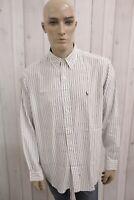 RALPH LAUREN Uomo Taglia 2XL Camicia Custom Fit Cotone Shirt Casual Manica Lunga