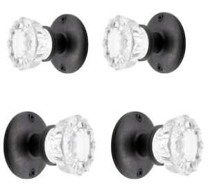 Two Sparkling Glass French Door Dummy Knob Sets for Both Sides of Two Doors