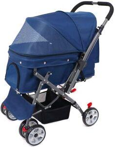 4 Wheel Reversible Forward Rear Facing Pet Dog Cat Stroller Pushchair Buggy Pram