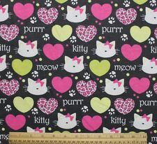 SNUGGLE FLANNEL * KITTY & HEARTS on BLACK*  Cotton Fabric *NEW* BTY