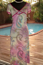 Etro Dress In Pastel Paisleys+Fuschia Velvet Trim   NWT  IT42 S 4 FR36
