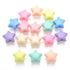 100 Mixed Pastel Color Acrylic Star Beads Charms 14mm Jewelry Making