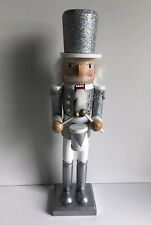 * NEW CHRISTMAS SOLDIER DRUMMER NUTCRACKER grey silver sparkly standing 38cm