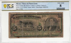 Mexico 1910 5 Pesos Nuevo Leon PCGS Banknote Certified Very Good 8 S360c ABNC