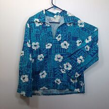 Genuine Hawaiian Aloha Shirt - S - True vintage Barkcloth Long sleeves Pullover