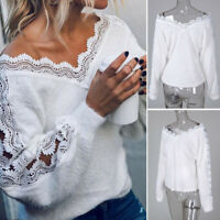 Tunic Sleeve V-neck Lace Pullover Jumper Ladies Sweater Coat Tops Women Long