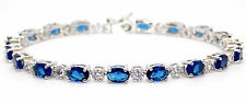 Sterling Silver Blue Sapphire And Diamond 7.86ct Tennis Bracelet (925) Free Box