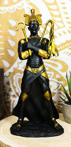 Ebros Egyptian God of The Dead Osiris & Crook and Flail Statue In Black & Gold