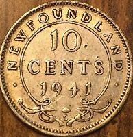 1941 NEWFOUNDLAND SILVER 10 CENTS DIME