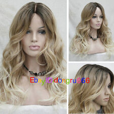 Ladies Front Lace Wigs Curly Long Wavy Hair Ombre Brown Blonde Gradient Wig