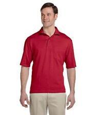 Polo Shirt S Jerzees Red Spotshield Men's Jersey w/Pocket Short Sleeve 436P New