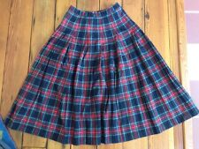 Vintage Pendelton Scottish Black Stweart Tartan Plaid Pleated Kilt Skirt 6 USA