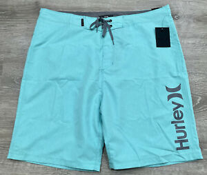 """NWT Hurley Mens One And One Aqua Heather Surf Board Shorts Trunks 21"""" Size 34"""