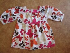 GAP Girl's Blouse, Smock Top, Age 5 years, Cream, Butterfly, Leaves, Cotton