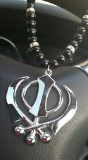 SILVER Plated Punjabi LARGE Sikh Khanda Pendant Car Rear Mirror Hanging MALA M2
