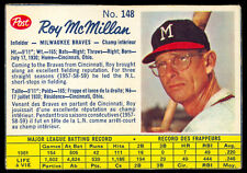 1962 POST CEREAL CANADIAN BASEBALL #148 Roy McMillan EX-NM Milwaukee Braves Card