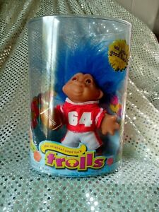 The Original Good Luck Troll Play Along Toys Blue Hair Red Football Outfit