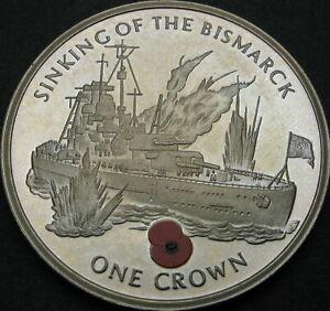 GIBRALTAR 1 Crown 2004 Proof - Sinking of the Bismarck - 3852 ¤