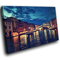 SC175 Venice City Italy Night Cool Landscape Canvas Wall Art Large Picture Print