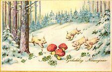 Neujahr, Fliegenpilze, Schweine, 1940 in Belgien versandt