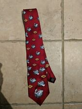 Vtg Flying Toasters Pure Silk After Dark Screen Saver Neck Tie - Toast Red