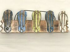 FLIP FLOP COAT RACK WALL HANGING HAND CARVED WOOD TROPICAL Island DECOR
