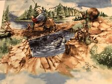 BTY The WOODSMAN IN SPRING Fabric Panel-Fishing Camping Hiking Hunting-Wild